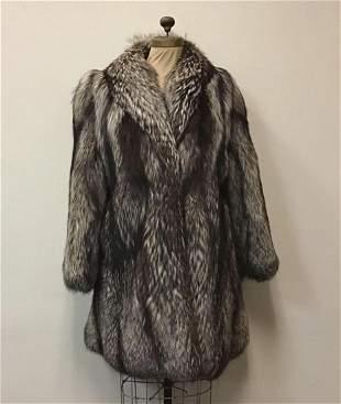 Luxury Silver Fox Fur Coat