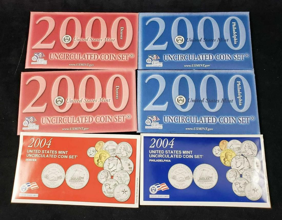 2000 and 2004 United States Mint Uncirculated Coin Sets