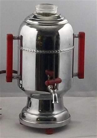 Vintage Champions Chrome W Red Handles Percolator