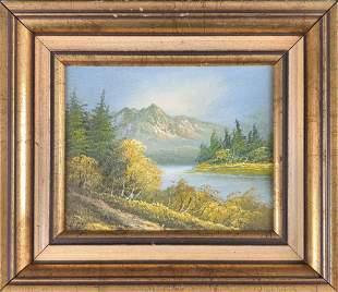 Framed Vintage Original Oil On Canvas Mountains