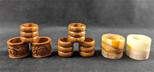 Set Of Ten Marble Stone And Wood Napkin Rings