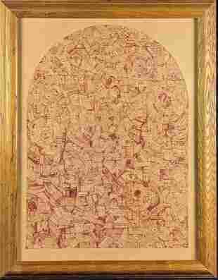 Original Framed Red Ink On Paper Map