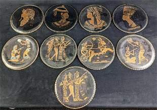 Vintage Nine Copper Egyptian Style Plates