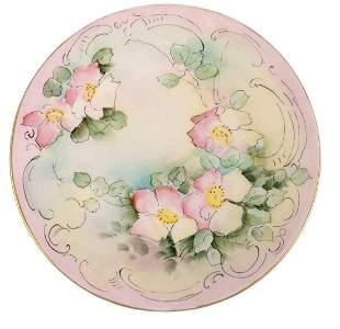Vintage Hand-Painted T V Limoges French Porcelain Plate