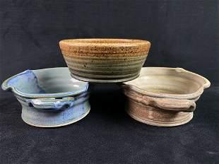 Vintage Artisan Signed Glazed Stoneware Bowls Lot Of 3