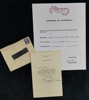 Signed Letter from Margaret Truman on White House