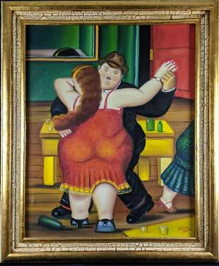 Hand Painted Reproduction Of Dancing Couple W3