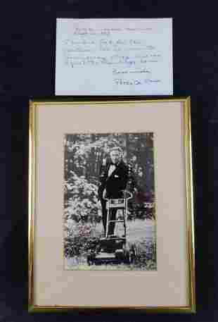Peter De Vries Autographed Framed Photo And Note