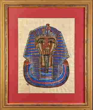 Framed Egyptian Tutankhamun Hand Painted Papyrus Art