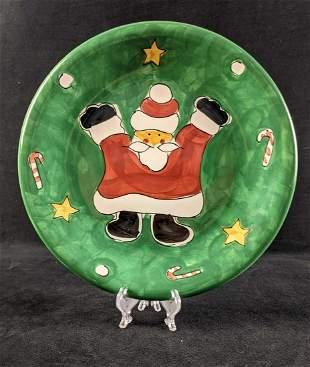 Christmas Dinner Plate Festive Green Santa by Gibson