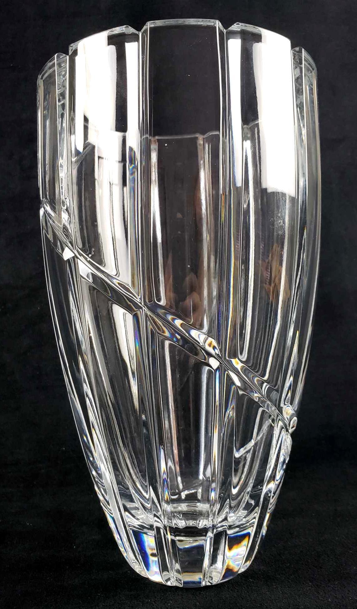 Heavy Cut Crystal Vase