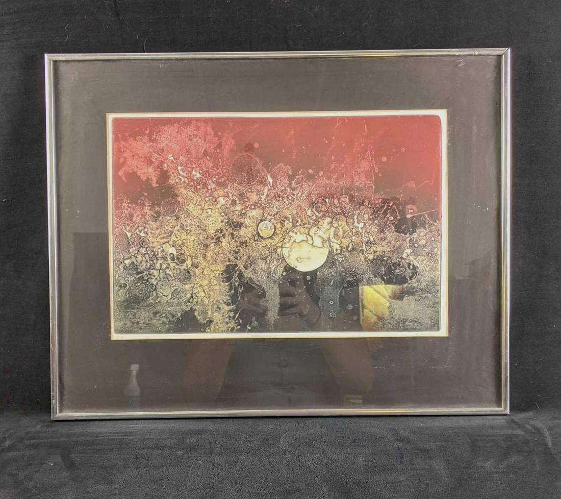 """Framed Abstract Artwork Signed """"Moonscape V"""" by Ruth"""