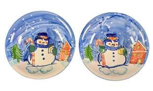 Two Emerald Station Casino Ceramic Snowman Bowls