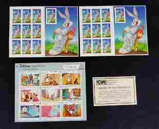 Disney Warner Brothers Stamp Sheets Lot Of Three