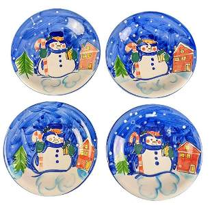 Four Emerald Station Casino Ceramic Snowman Plates