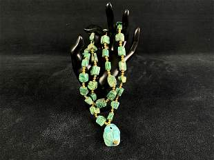 Vintage Turquoise Colored Soapstone Scarab Beetle