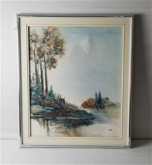 Landscape Water Original Mixed Media Painting Signed