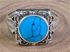 Vintage Scrolled Turquoises Signet Ring