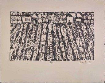 Kim Mosley (20th Century) Signed Woodblock Print