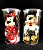 Two Disney Mickey and Minnie Tokyo Bean Bag Dolls Circa