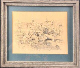 Framed James F Murray Wharf Scene At Nantucket X1
