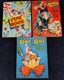 Three Vintage Clown Coloring Dot To Dot Books