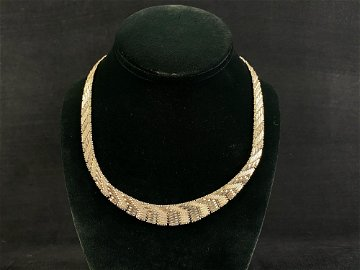 Unique Vintage Sterling 925 Italy Woven Link Necklace