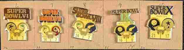 Vintage Superbowl 6-10 NFL Commemorative Pins