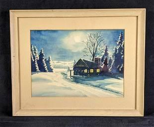 Winter Landscape with Cabin by J.L.K