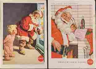 Two 1950s Coca Cola Santa Claus Magazine Advertisements