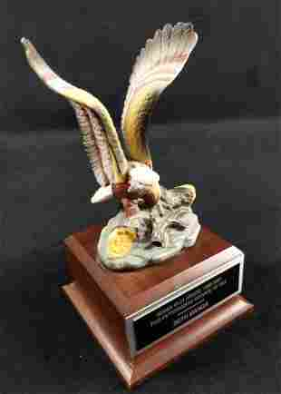 Small Eagle On Wood Base Award Mantlepiece