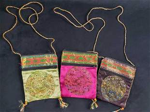 Vintage Lot Of Three Chinese Evening Purses B