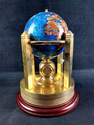 Blue Inlaid Lapis Globe Clock Thermometer and