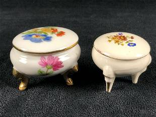 Antique Hand Painted Floral Gold Plated Porcelain