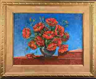 Original Framed Acrylic On Canvas Poppies In A Bowl