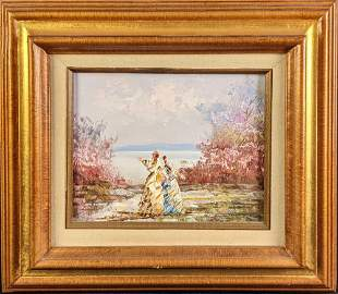 Small Original Framed Oil On Canvas Ladies By The Lake