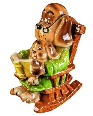 Vintage Ceramic Doggy Dad And Son Rocking Chair Bank