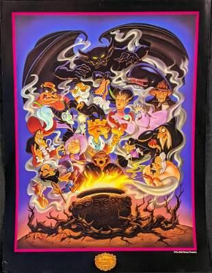 Rare Disney Villains Offset Lithograph Poster