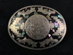 Vintage Mexico Mayan Onyx & Shell Alpaca Belt Buckle