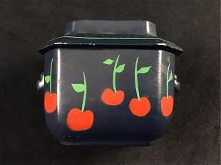 Decorative Vintage Circa 1900s Ceramic Pot with Lid