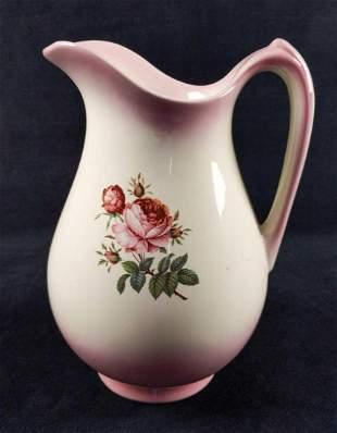 Vintage Ceramic Floral Rose Pitcher