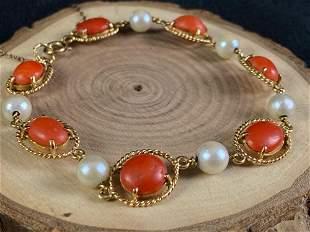 Antique Egyptian 18K Gold Orange Agate & Pearl Bracelet