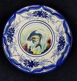 Vintage Hand Painted Porcelain Fish Plate Platart