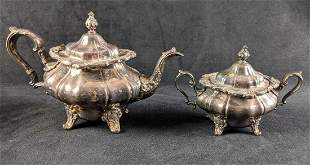 Silverplate Teapot & Sugar Bowl Gorham Strasbourg