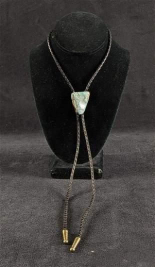 Turquoise Leather Bolo Tie Tumble Polished Stone