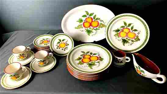 """23 Pieces Dish Set by Stangl: """"Apple Delight"""" Pattern"""