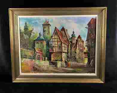 Vintage Cityscape Signed Framed Original Oil On Canvas