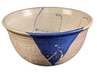 Large Ceramic Pottery Blue White Art Bowl