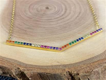 Gold Over Sterling Rainbow V Bar Pendant / Chain
