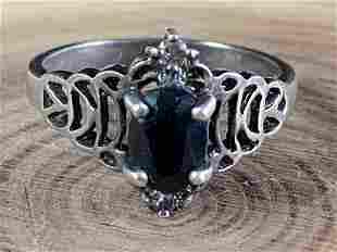 Vintage Sterling Blue Sapphire Ring